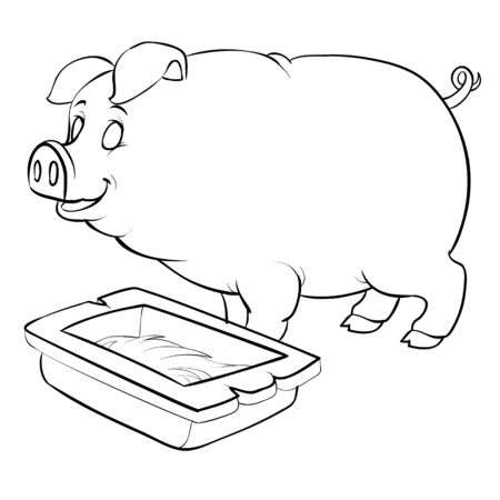 pig stands next to the trough, for coloring, outline drawing, isolated object on white background, eps