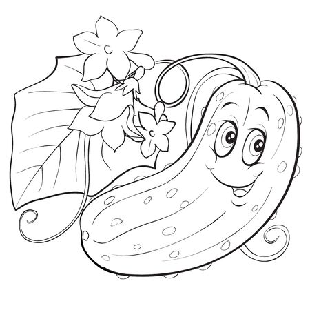 the character of a cucumber with big eyes lies among the foliage on the bed, a contour drawing, for coloring, isolated object on a white background, 向量圖像