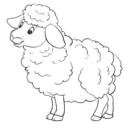 cartoon style sheep is drawn in outline, isolated object on a white background, vector illustration,
