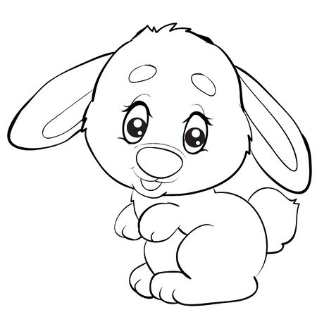 cartoon style little rabbit with big eyes is drawn in outline, isolated object on a white background, vector illustration, 일러스트