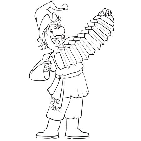 Russian buffoon plays the accordion at the fair drawn in outline, isolated object on a white background, vector illustration,