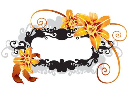 decorative frame of flowers in black and yellow colors, isolated object on a white background, vector illustration Foto de archivo - 142469333