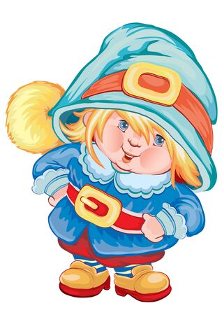 cute baby gnome in a blue hat and blue jacket, isolated object on white background, vector illustration, eps Foto de archivo - 142469294