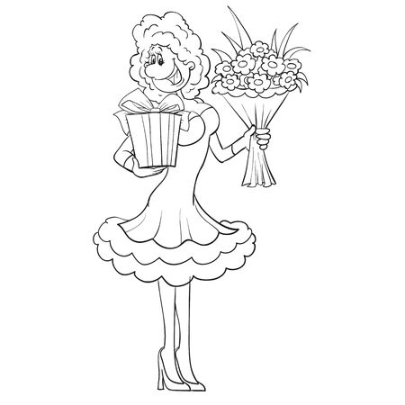 woman in a beautiful dress stands and holds in her hands a wrapped gift and a bouquet of flowers, cartoon, outline drawing, isolated object on a white background, vector illustration, eps