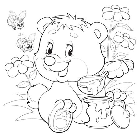 cute bear sits among flowers and eats honey with a big spoon from a large barrel, bees fly to it, outline drawing, isolated object on a white background, vector illustration, Foto de archivo - 142469298