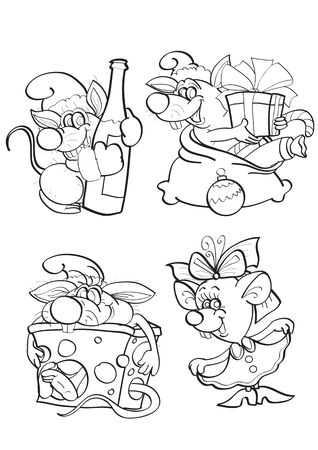 set of funny mice drawn in outline, they are going to celebrate the New Year holiday, dance, drink, give and receive gifts, vector illustration 矢量图像