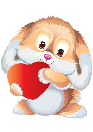cute beige hare with cuddled ears and big eyes holds red heart to itself, vector illustration Foto de archivo - 142379129