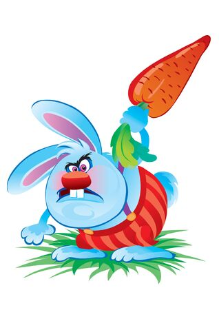 blue angry rabbit beats big carrot on the ground and is very angry, vector illustration