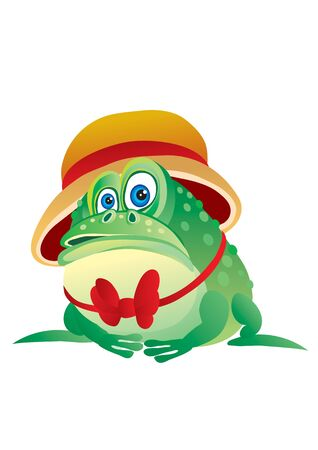 green intelligent frog in a hat and tie, interest, character, vector illustration