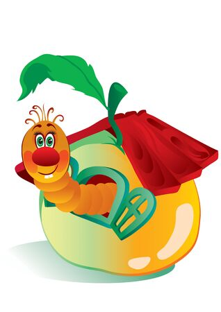 cute worm crawls out of an apple with a red roof, house, hospitality, comfort, vector illustration Foto de archivo - 142469303