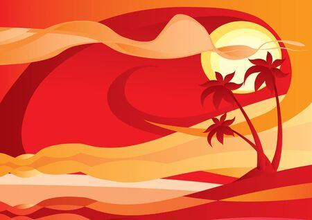 red tropical landscape background with palm trees and sea, vector illustration Foto de archivo - 142469306
