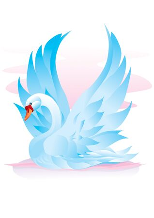 blue swan spread its wings and is about to take off, hope, love, beauty, vector illustration Foto de archivo - 142469308