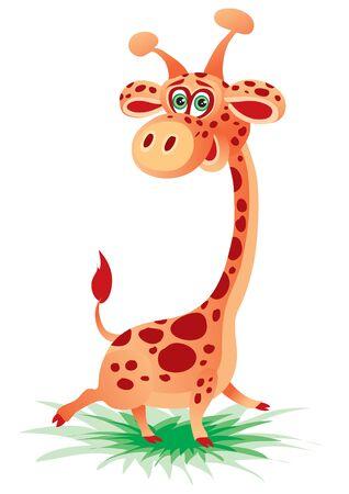 cute giraffe character runs on the grass and bounces, fun, childhood, vector illustration Foto de archivo - 142469316