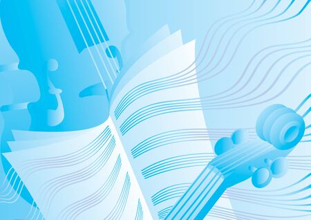 blue music theme with notes and music stand, vector illustration Foto de archivo - 142391394