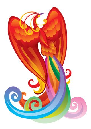fairy bird phoenix in red, isolated object on a white background, vector illustration Foto de archivo - 142469328