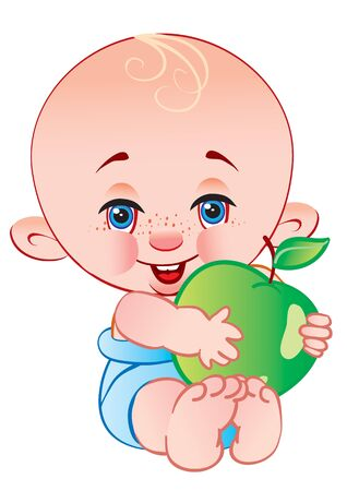 cute bald baby sitting in a blue diaper and holding a big green apple in his hands and smiling, isolated object on a white background, vector illustration Vektorgrafik