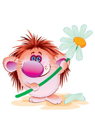 cute hedgehog with a big red nose holds in his hands a flower from which the petals fell off, vector illustration Foto de archivo - 142855567