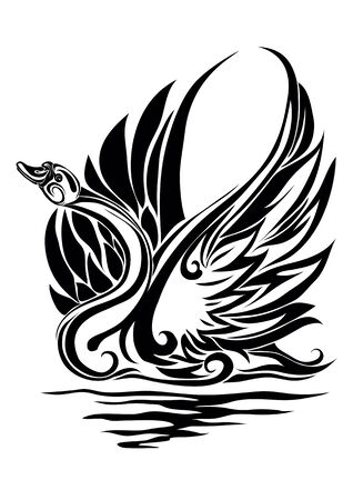 black stylized swan, graphics, devotion, fidelity, nobility, isolated object on a white background, vector illustration Foto de archivo - 142855568