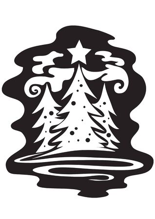 three Christmas trees on Christmas night stand at night in the forest, graphic, black, vector illustration Foto de archivo - 142855571