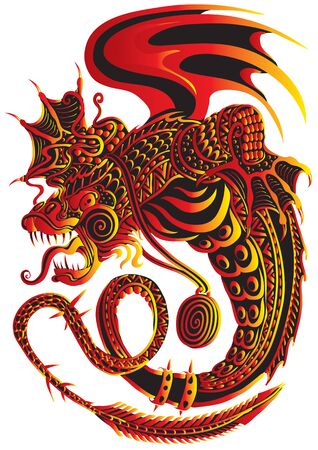 stylized dragon with wings in black, red and yellow colors, strength, power and horror, vector illustration