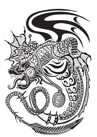 decorative dragon is drawn in black line with wings, power, strength, power, vector illustration Stock Illustratie