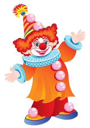 funny clown in a beautiful hat and with red hair on a white background, holiday, fun, childhood, vector illustration Foto de archivo - 142855574