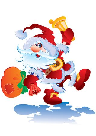 merry santa claus jumping fun and ringing a bell, vector illustration Foto de archivo - 142855577
