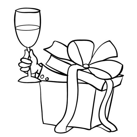 out of the box with a surprise with a big bow sticks out a hand with a glass of champagne, outline drawing, cartoon, isolated object on a white background, vector illustration,