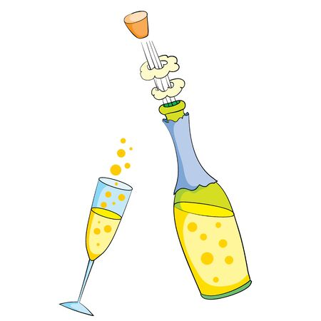 open bottle of champagne with a glass filled with champagne, isolated object on a white background, vector illustration,