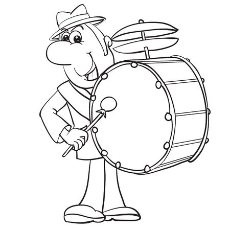 a man in a hat plays the drum that hangs on the straps on his shoulder, a contour drawing, cartoon, isolated object on a white background, vector illustration, Foto de archivo - 142963577