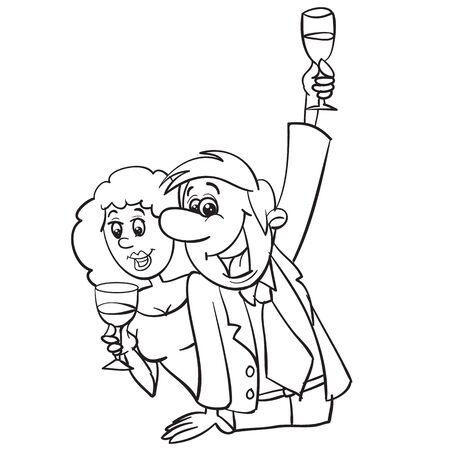 man and woman drink champagne, man makes a toast, outline drawing, cartoon, isolated object on a white background, vector illustration,