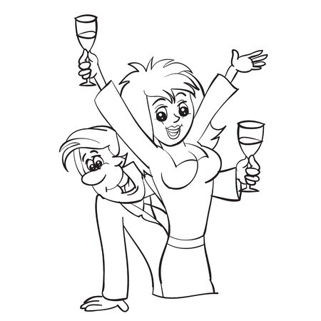 man and woman drink champagne and celebrate together, woman makes a toast, outline drawing, cartoon, isolated object on a white background, vector illustration, Foto de archivo - 142963623