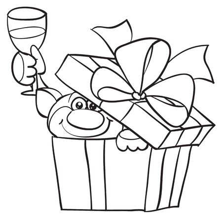 a cat peeks out of the box with a surprise and holds a glass of champagne in his paw, outline drawing, cartoon, isolated object on a white background, vector illustration, eps Foto de archivo - 142857774