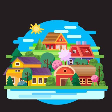 landscape of colored little houses on a background of blue sky on a black background, for games, vector illustration Foto de archivo - 142963630
