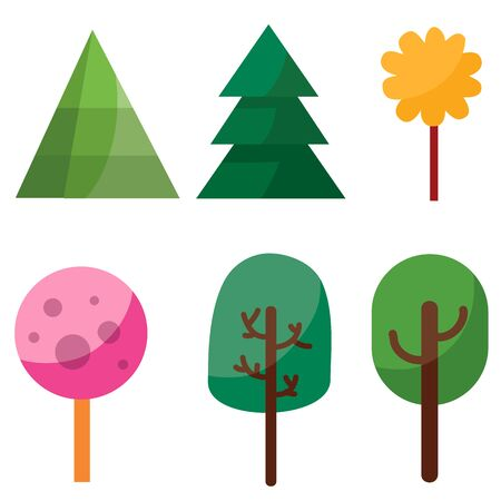 set of six trees in different colors in a flat style for illustrations and games, isolated object on a white background, vector illustration Foto de archivo - 142944636