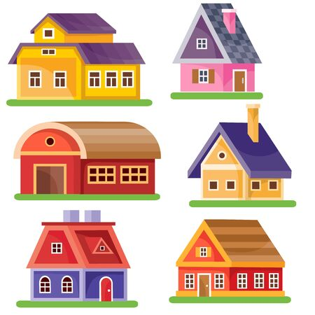 set of six houses of different colors in the style of a flat for illustrations and games, isolated object on a white background, vector illustration Foto de archivo - 142963631