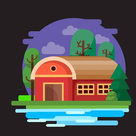 red house hangar on a background of purple sky with bushes grass, trees and a river, black background, for games, vector illustration, Foto de archivo - 142963633