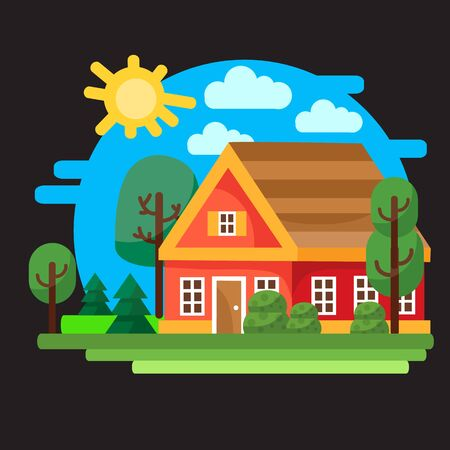 small red house with a brown roof against a blue sky with the sun, around bushes grass, trees and a river, black background, for games, vector illustration, Foto de archivo - 142963635