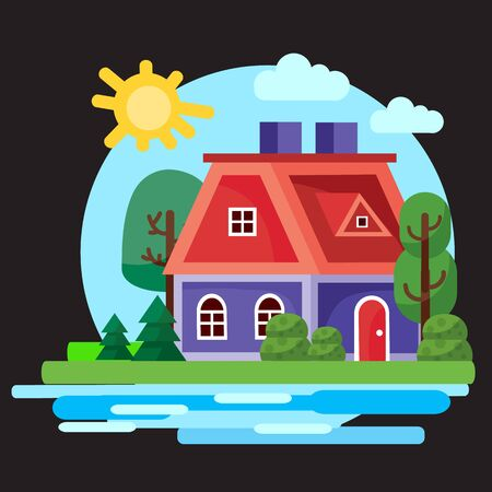 small blue house with a red and red door roof against a blue sky with the sun, around bushes grass, trees and a river, black background, for games, vector illustration Foto de archivo - 142963638