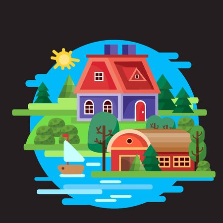 Two houses, large and small, stand among the trees on the shore of the bay, in which a sailboat floats against a blue sky, black background, for games, vector illustration, Foto de archivo - 142963644