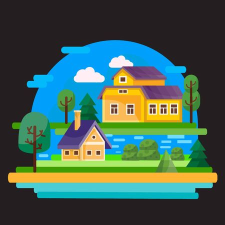 two houses big and small stand on different islands among the water against the blue sky, black background, for games, vector illustration, Foto de archivo - 142963646