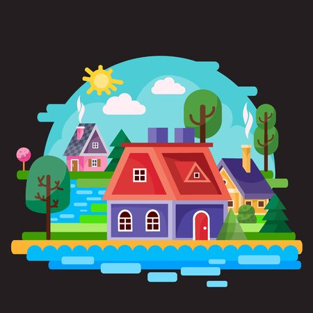 landscape of a small village among trees, bushes, grass and a river against a blue sky, black background, for games, vector illustration, Foto de archivo - 142963648