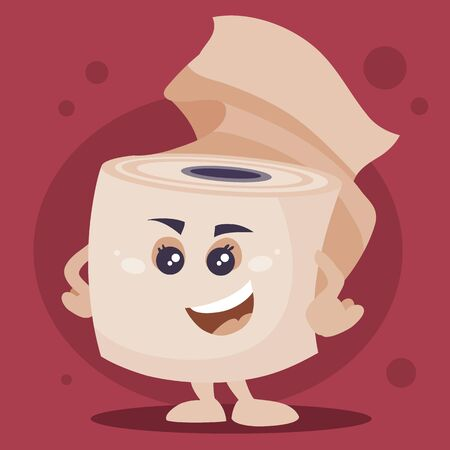 toilet paper roll stands on its feet with hands on its belt and smiles, object on cherry background, vector illustration, EPS Foto de archivo - 143022370