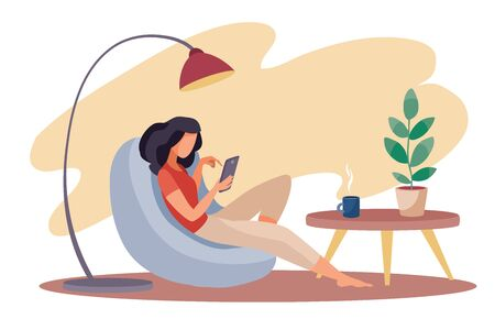 the girl sits comfortably in an armchair and works on a laptop, there is a lamp behind the armchair, a small table stands next to him and there is a room flower in a pot on it, vector illustration, eps