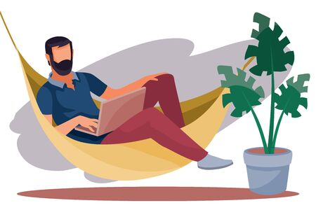 a man works remotely on a computer, lies in a hammock, coziness, comfort, freelance, vector illustration, Vetores