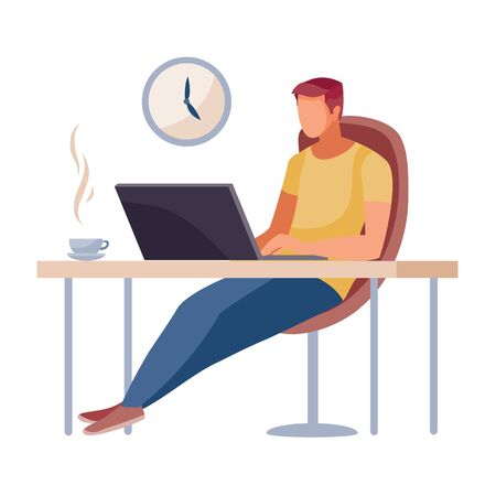 a man sits in a working chair at a table and works on a laptop, there is a cup with koi on the table, a clock hangs on the wall, work, freelance, vector illustration, Foto de archivo - 143033637