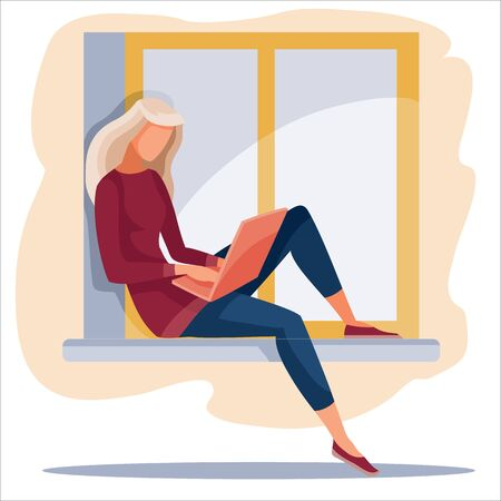 girl sitting on the window and working on a laptop, freelance, convenience, comfort, quarantine, isolated object, vector illustration,