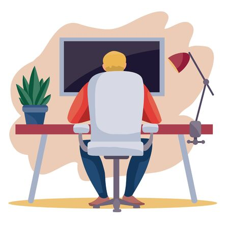 a man sits backwards in a working chair at a table and works on a laptop, on a table there is a flower in a pot and a lamp, work, freelance, vector illustration, eps Foto de archivo - 143040427