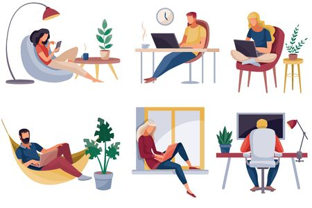 set of people who work at home, in the office, they are sitting in a chair on a chair and at the window, isolated object on a white background, vector illustration, Foto de archivo - 143040425