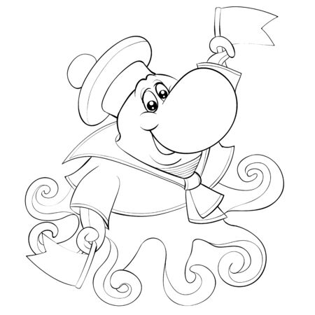 octopus wearing clothes and hat holds flags in hands, outline drawing, coloring, isolated object on a white background, vector illustration, eps Foto de archivo - 143098238